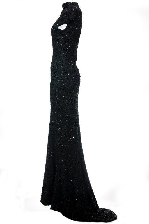 Celine by Michael Kors Black Sequined Evening Dress 2