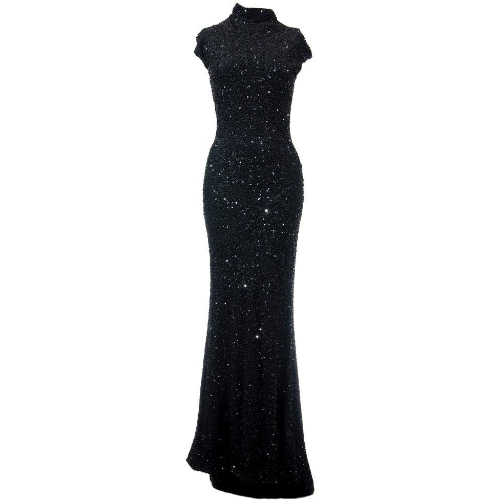 Celine by Michael Kors Black Sequined Evening Dress 1