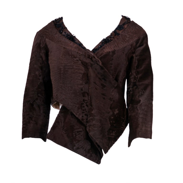 Prada Brown Broadtail Fur Embellished Short Jacket