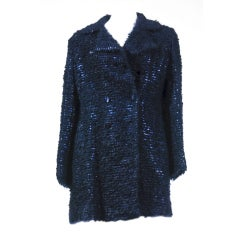 Tom Ford for Gucci 90'S Rare Navy Fully Sequined Mohair Coat