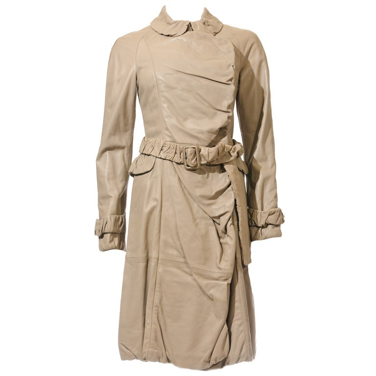 Burberry Prorsum Nude Ruched Leather Trench Coat New