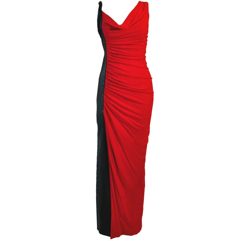 Gianni Versace Two-tone Black & Red Diva Evening Dress from 90'S 1