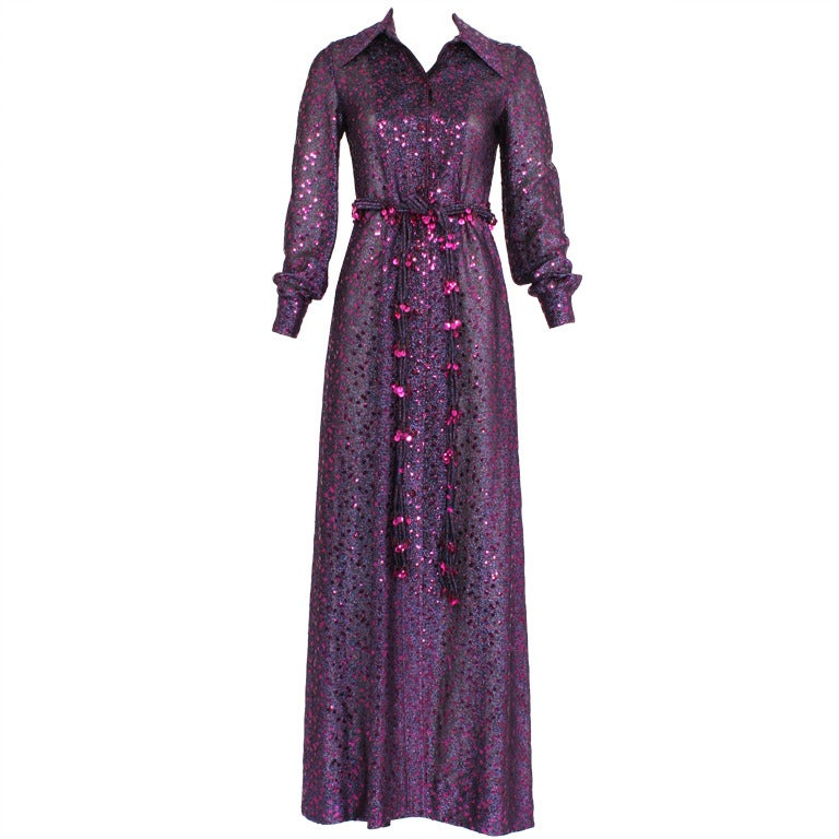Christian dior purple metallic 1970s dress 2774401807 at for Costume jewelry for evening gowns