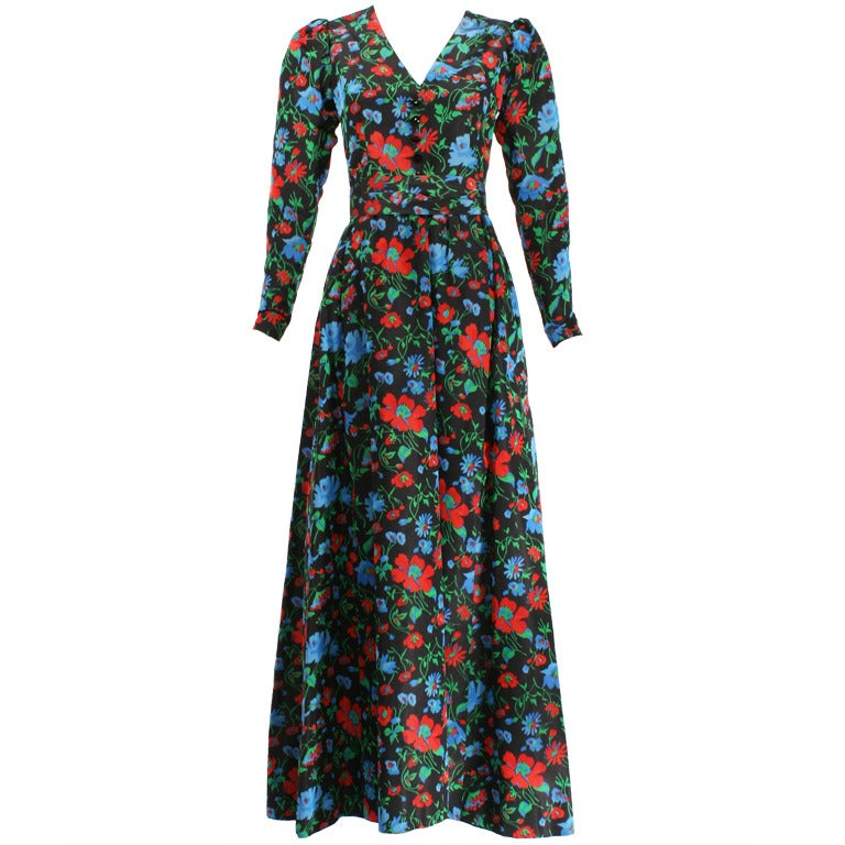 Yves saint laurent haute couture 1970s floral dress 30268 for Haute couture dress price