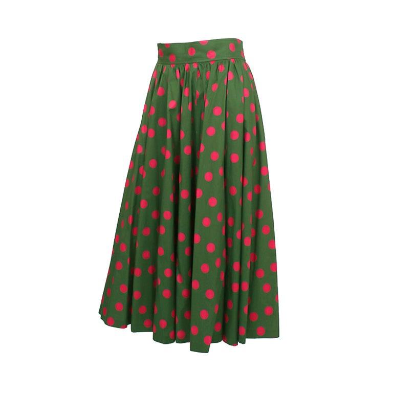 yves laurent high waisted polka dot skirt at 1stdibs