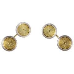 Art Deco Engraved Gold Cufflinks