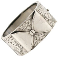 Sterling Silver Victorian Wide Bow Cuff c.1860, Aesthetic Movement