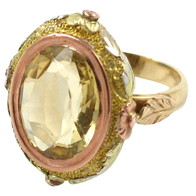 Citrine Lflowers Yellow Gold Ring