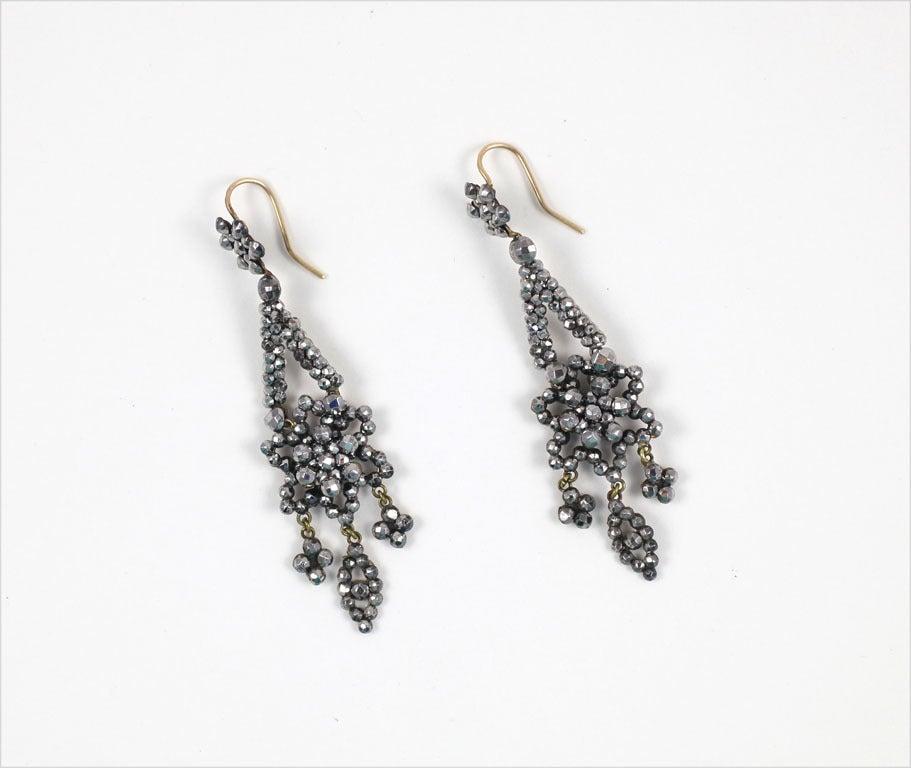 Georgian Cut Steel Floral Chandelier Earrings 2