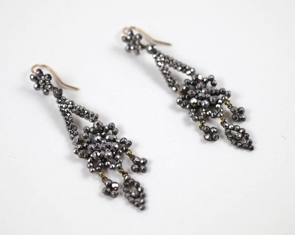 Georgian Cut Steel Floral Chandelier Earrings 3