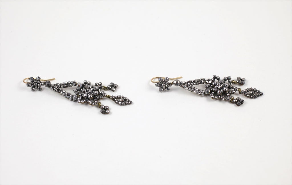 Georgian Cut Steel Floral Chandelier Earrings 4