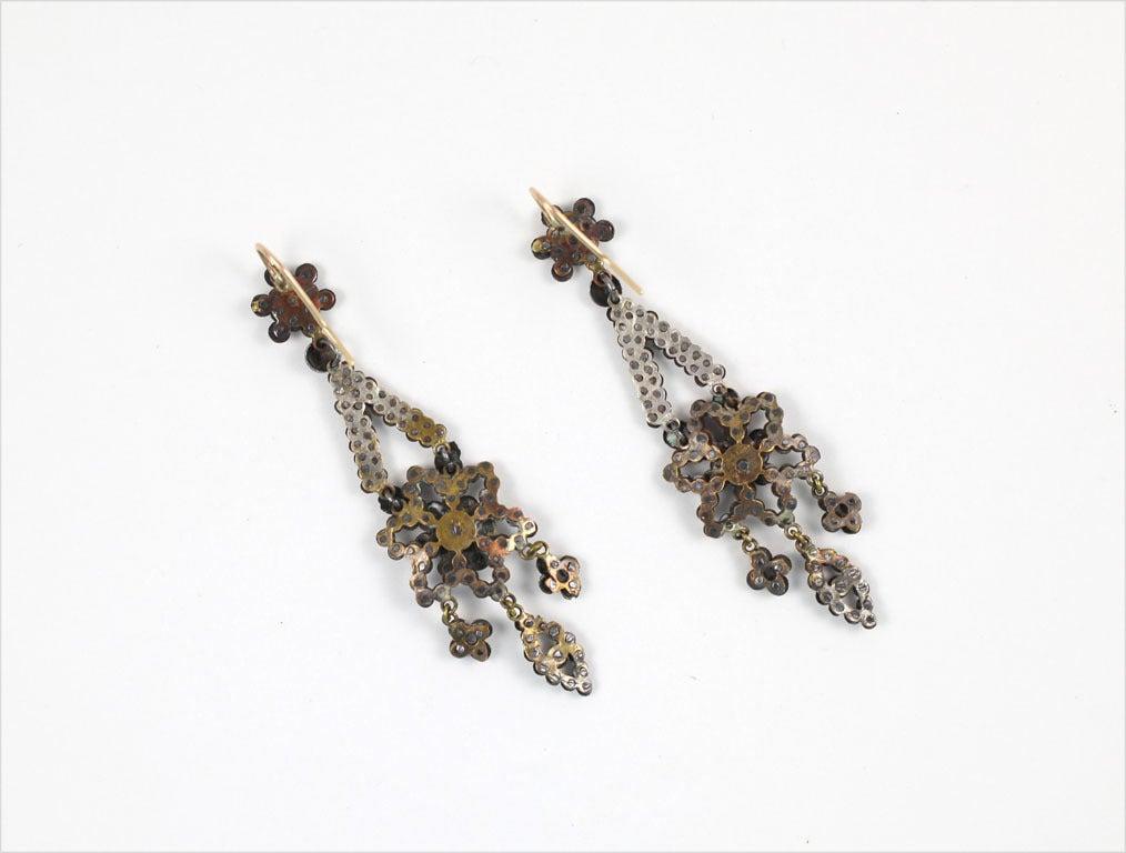Georgian Cut Steel Floral Chandelier Earrings 5