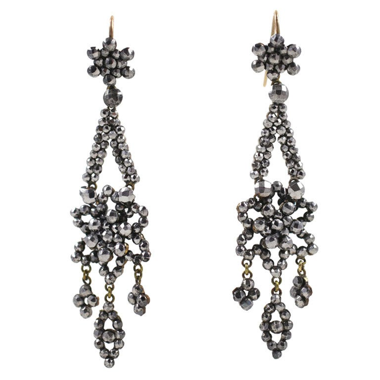 Georgian Cut Steel Floral Chandelier Earrings