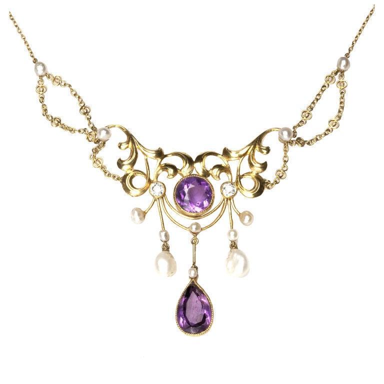 Art Nouveau Amethyst Pearl Diamond Gold Garland Necklace ...