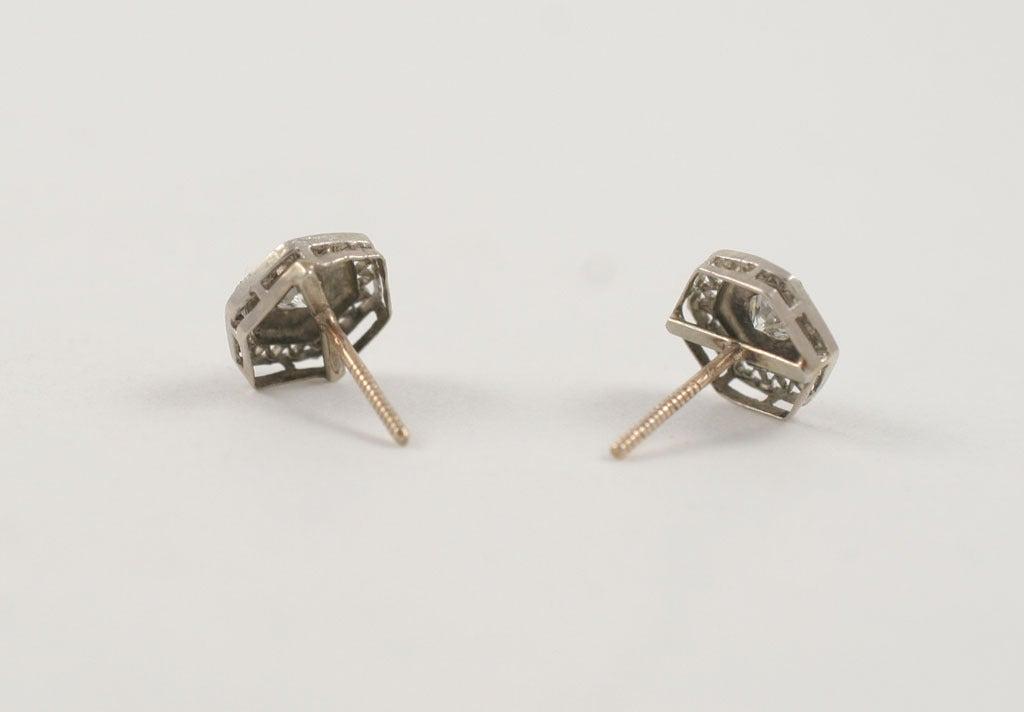 Art Deco Lace Trimmed Diamond Studs For Sale 1