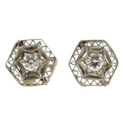 Art Deco Lace Trimmed Diamond Studs
