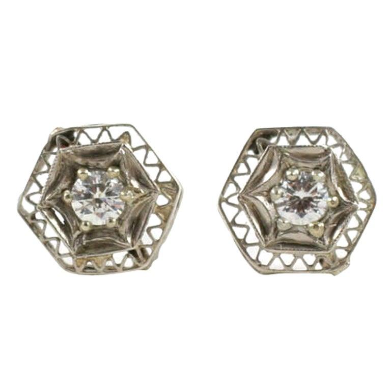 Art Deco Lace Trimmed Diamond Studs For Sale