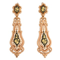 Antique Victorian French Enamel Yellow Gold Chandelier Earrings