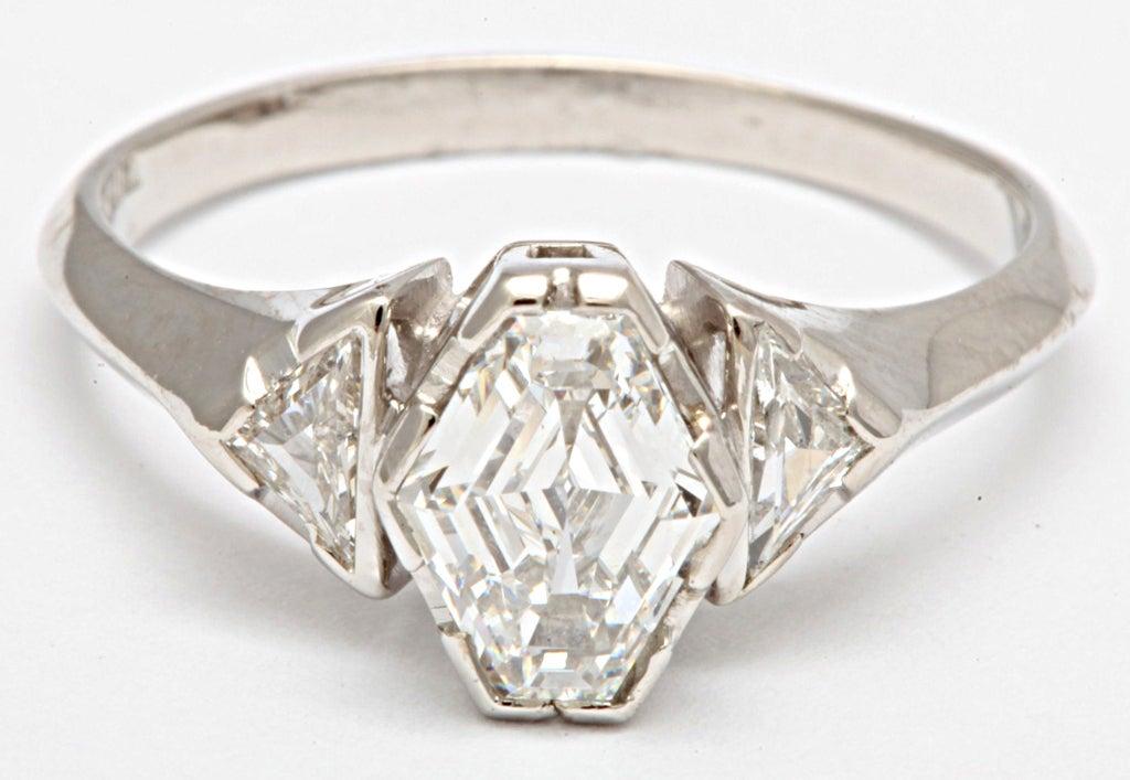 Geometric hexagonal diamond ring at 1stdibs for Geometric wedding ring