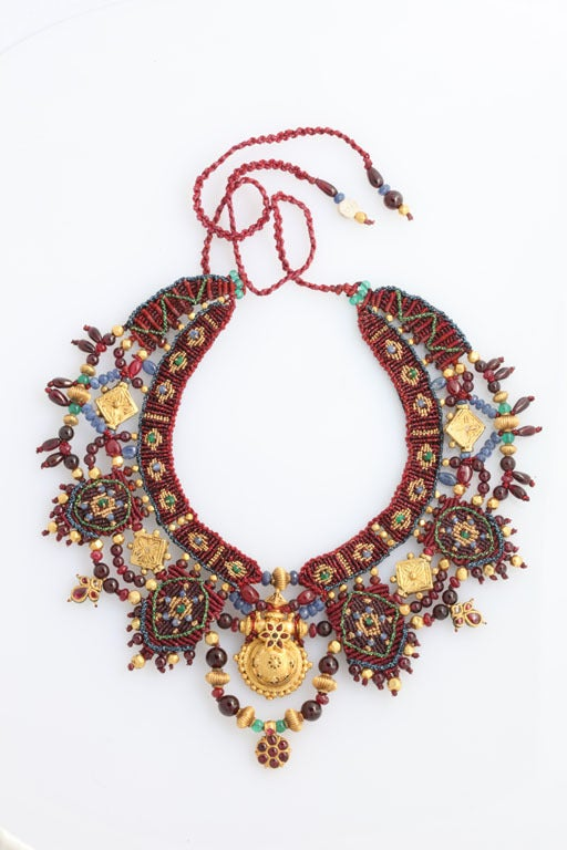 Indian Multi Gem Gold Embroidered Collar 2