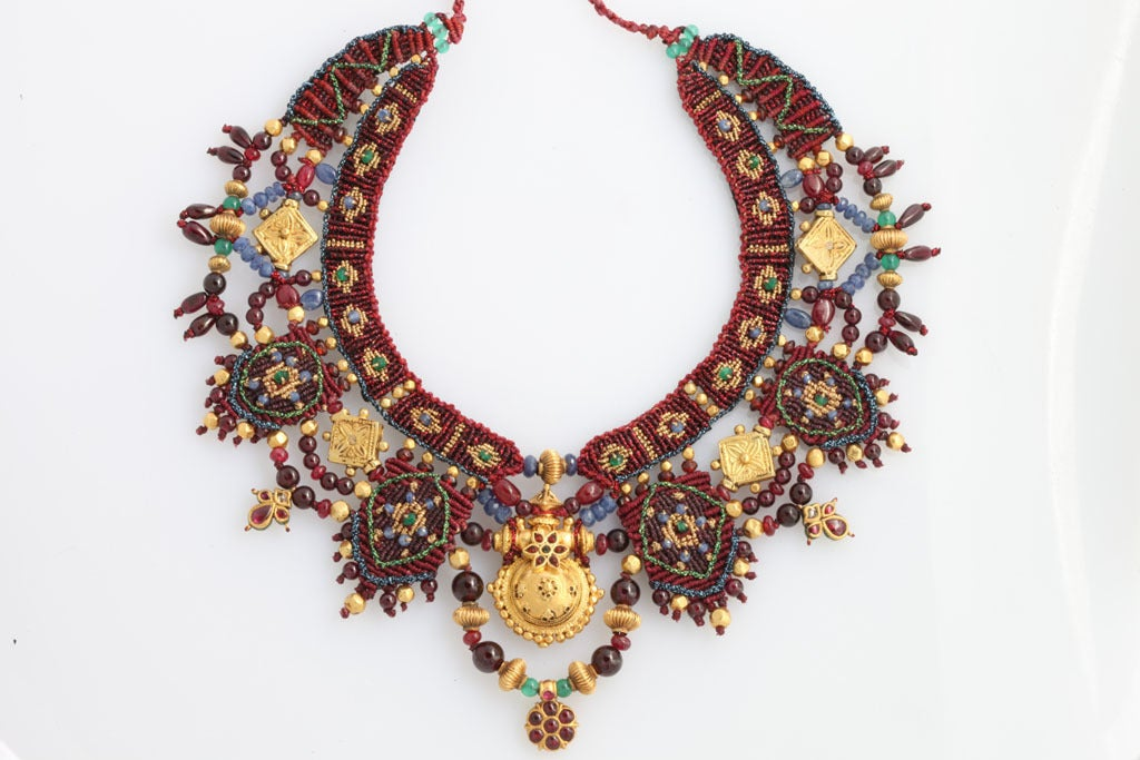 Indian Multi Gem Gold Embroidered Collar 3
