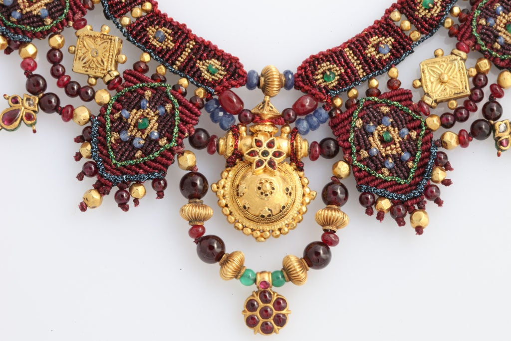 Indian Multi Gem Gold Embroidered Collar 4