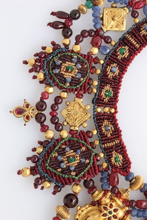 Indian Multi Gem Gold Embroidered Collar 5