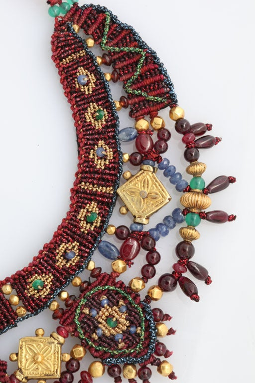Indian Multi Gem Gold Embroidered Collar 7