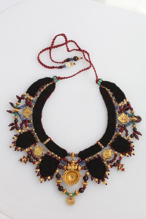 Indian Multi Gem Gold Embroidered Collar 9