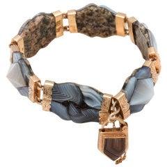 Victorian Scottish Montrose Grey Agate Padlock Bracelet