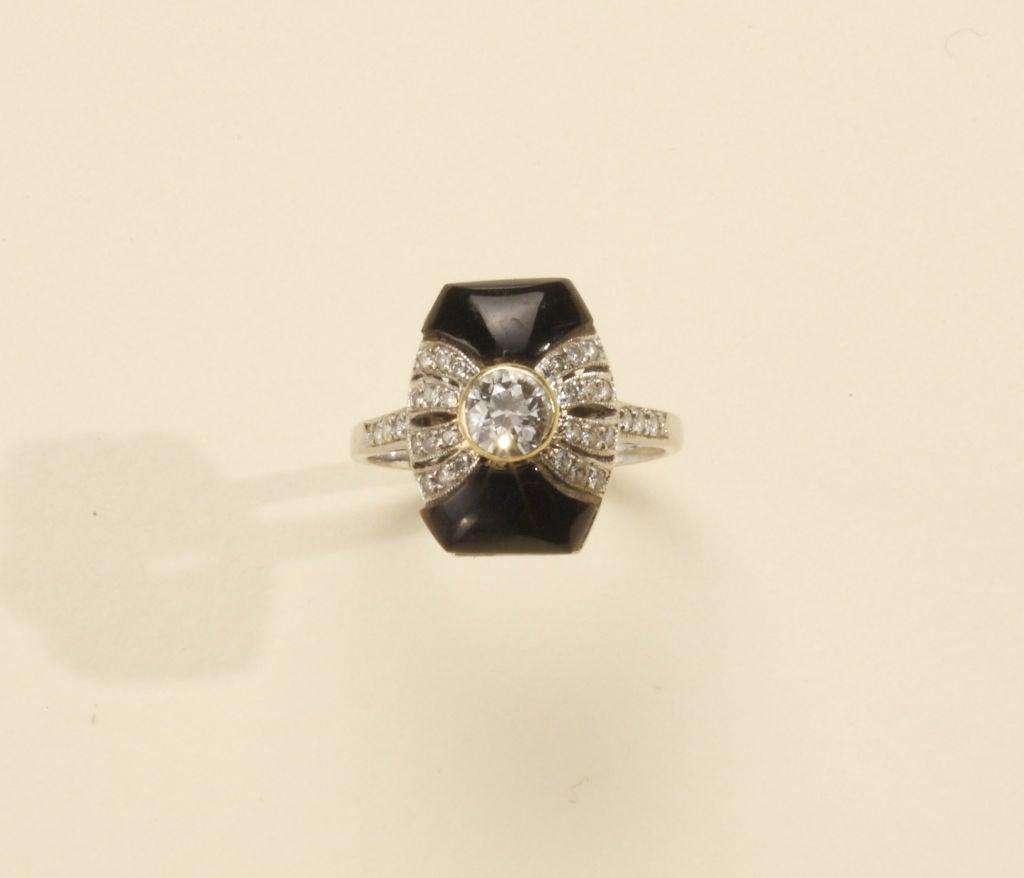Art Deco Onyx Diamond Gold Platinum Ring 3
