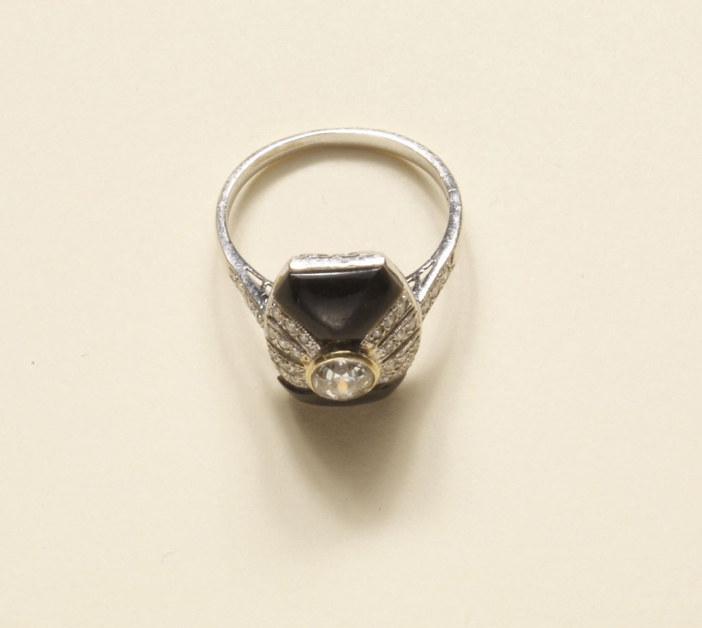 Art Deco Onyx Diamond Gold Platinum Ring 4