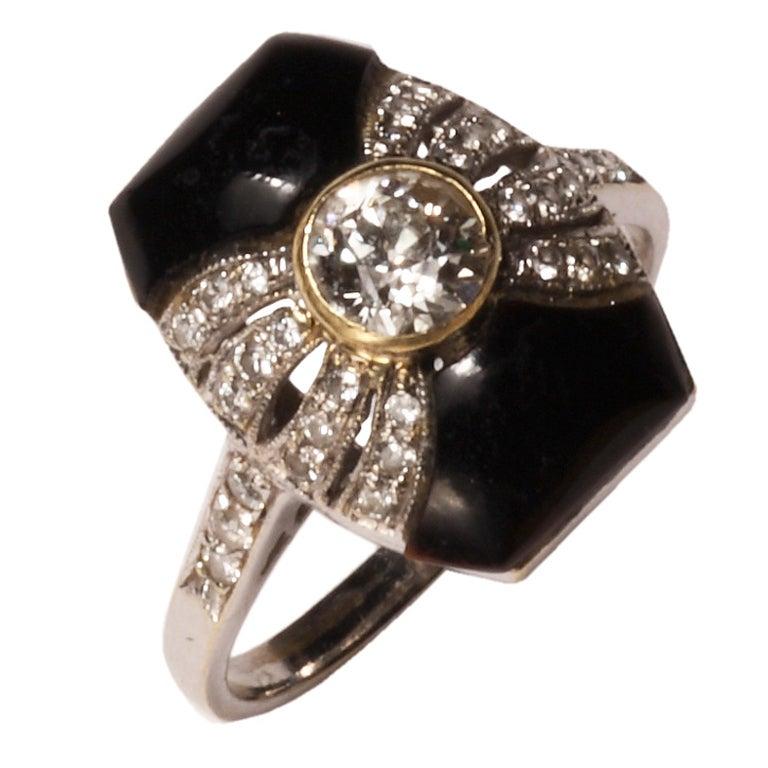 Art Deco Onyx Diamond Gold Platinum Ring 1