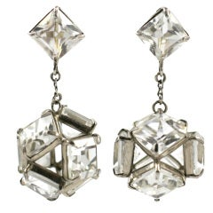 Art Deco Sterling and Rock Crystal Chandelier Earrings