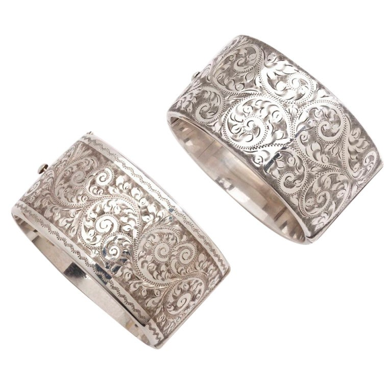 English Engraved Sterling Silver Cuffs