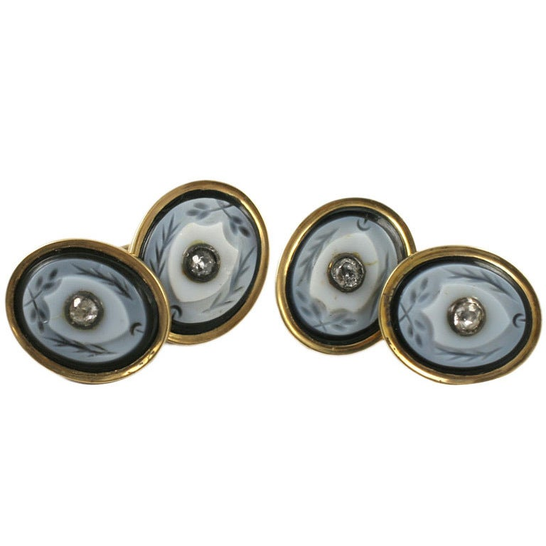 Antique Banded Agate And Diamond Cuff Links At 1stdibs