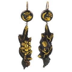 Antique Japanese Shakudo Earrings