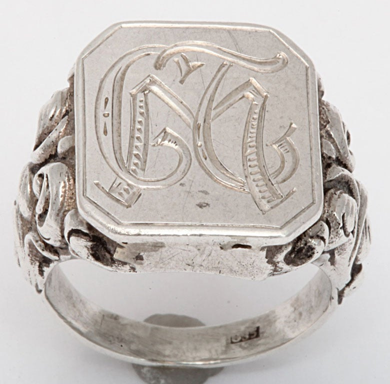 Acanthus leaves cover the shoulders of this 19th century Victorian ring. They bloom with a powerful meaning of enduring life, healing and regeneration. Acanthus leaves were used on Corinthian columns in Greece. The same flowing forms are seen