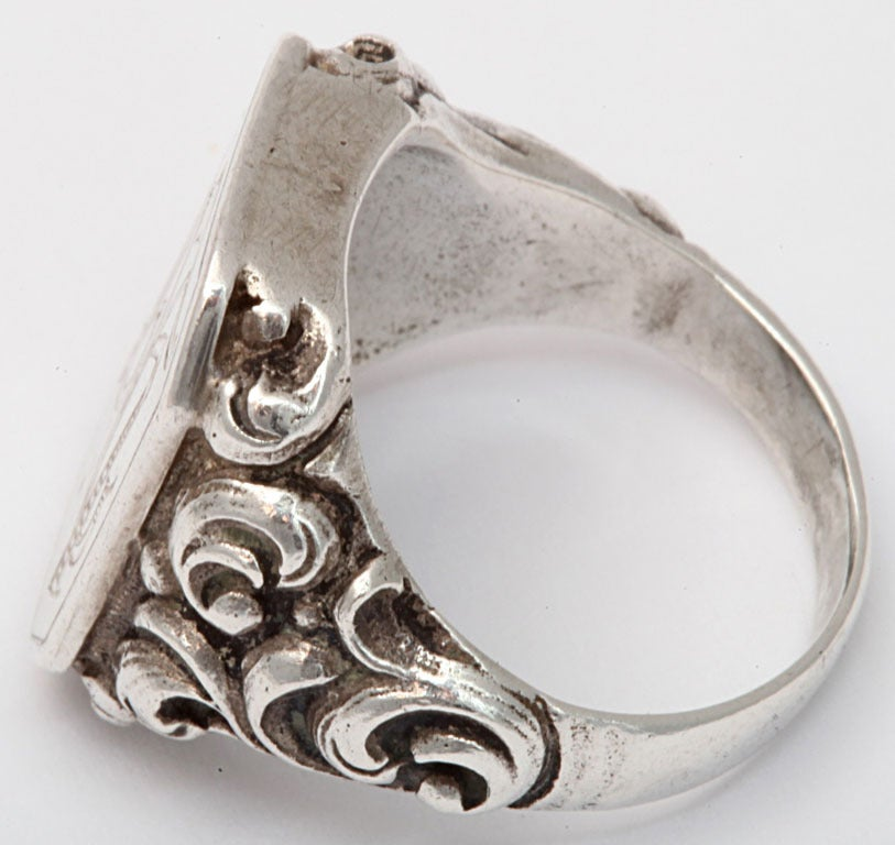 Women's or Men's Victorian Repousse Signet Silver Ring