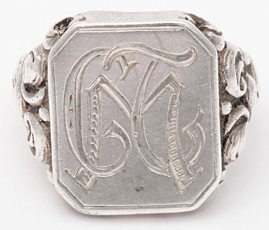 Victorian Repousse Signet Silver Ring  1