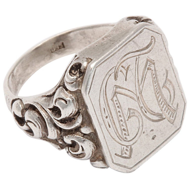 Victorian Repousse Signet Silver Ring