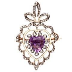 18 Karat Amethyst, Diamond, Natural Pearl Pendant Brooch