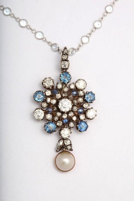 Women's Antique Victorian Sapphire Pearl Diamond Gold Pendant For Sale