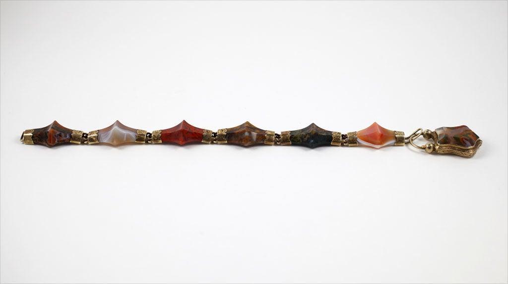Victorian Scottish Pyramid Agate Bracelet For Sale 1