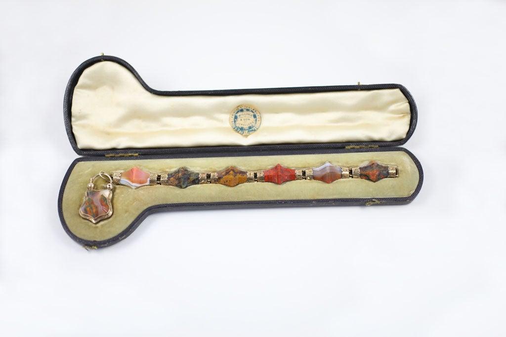 Women's Victorian Scottish Pyramid Agate Bracelet For Sale
