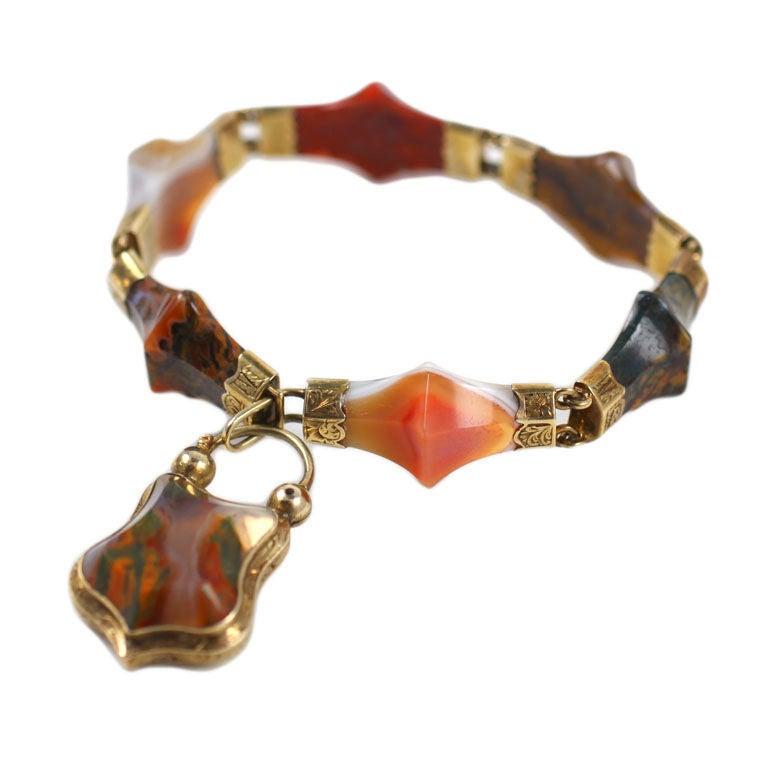 Victorian Scottish Pyramid Agate Bracelet For Sale 3