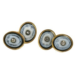 Victorian Banded Agate Diamond Cufflinks