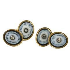 Victorian Banded Agate Diamond Cufflinks