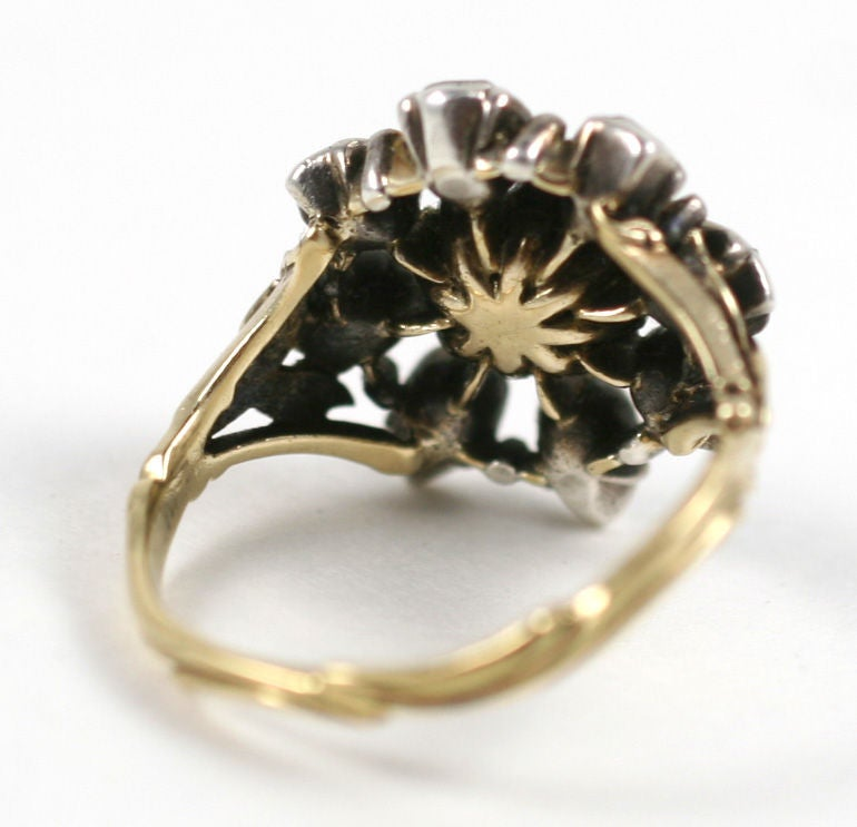 sumptuous georgian ring of emerald and antique diamonds at