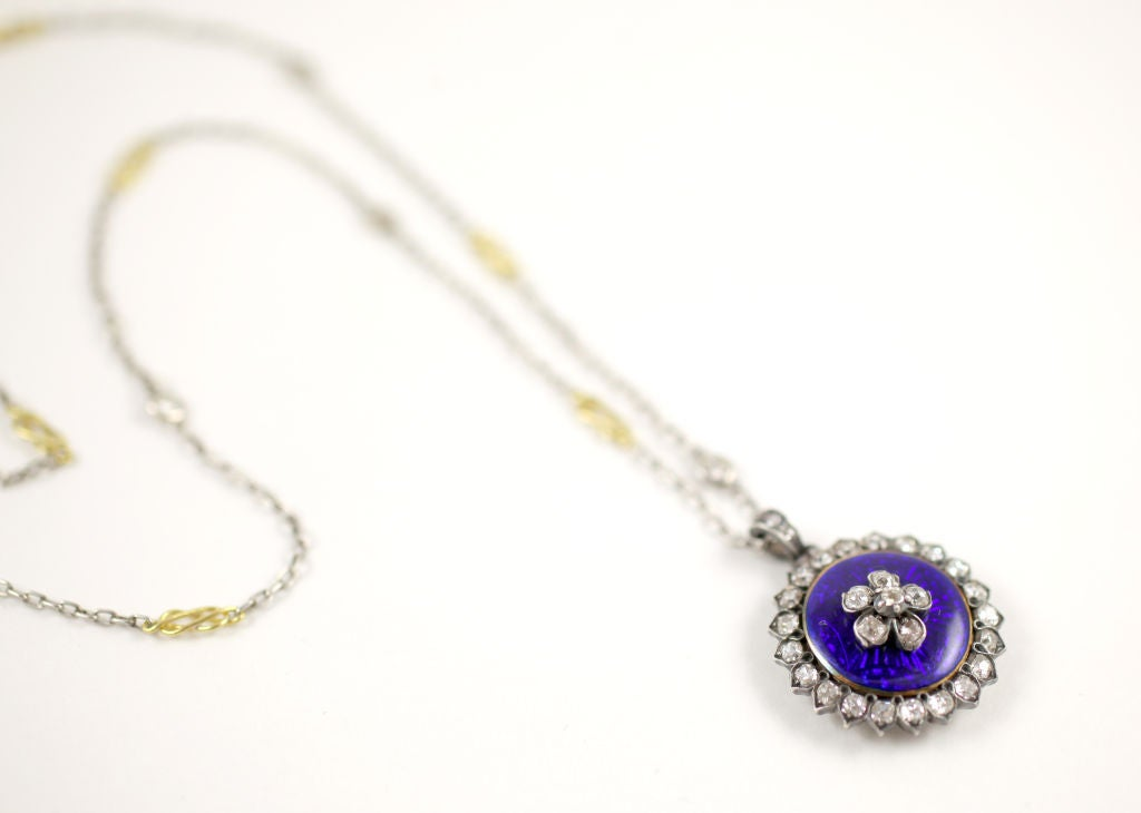 Antique Georgian Enamel Diamond Forget Me Not Pendant In Excellent Condition For Sale In Stamford, CT